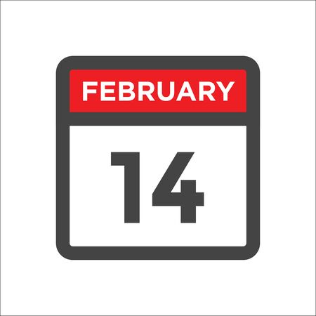 February 14 calendar icon with day and month Illustration