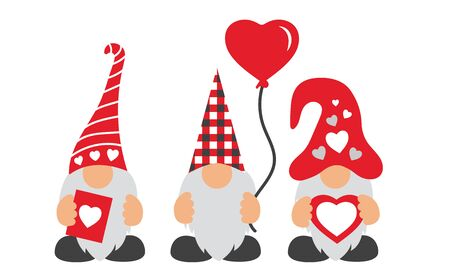 Valentines Day Gnomes w hat, balloon, and hearts