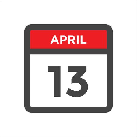 April 13 calendar icon with day and month Illustration