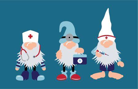 Nurse & Doctor Gnomes with stethoscope & shot