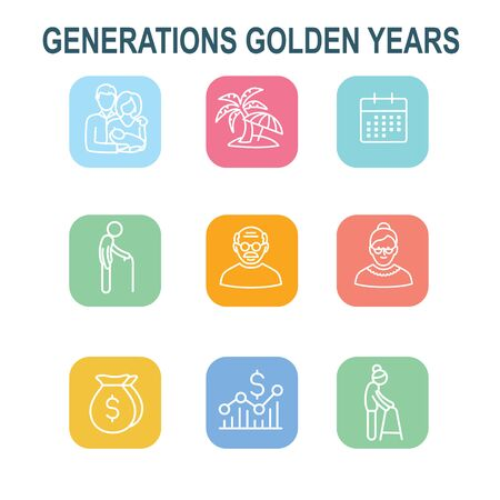 Generations: Golden Years Icon Set with retirement calendar , money, etc