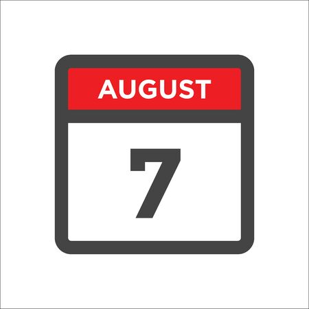 August 7 calendar icon with day and month