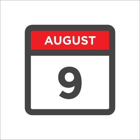August 9 calendar icon with day and month Illustration