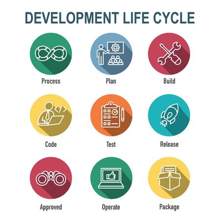 Opérations de développement et cycle de vie - Icône DevOps avec processus, build, etc.