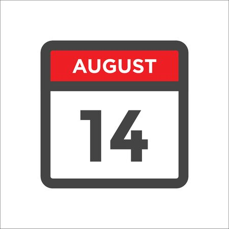 August 14 calendar icon with day and month Illustration