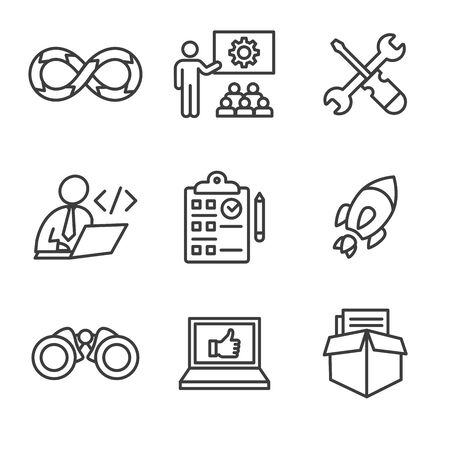 Development Operations and Life Cycle - DevOps Icon with process, build etc Illustration