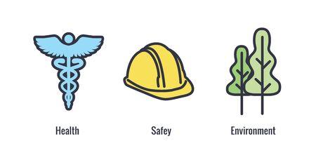 Ensemble d'icônes de santé, de sécurité et d'environnement avec des icônes médicales, de sécurité et de feuilles Vecteurs