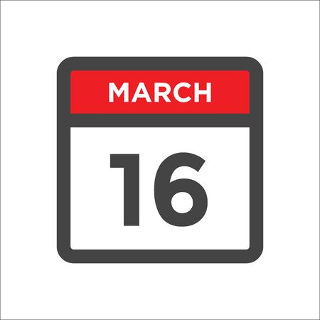 March 16 calendar icon - day of month