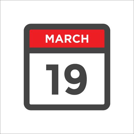 March 19 calendar icon - day of month