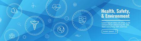 Symbolsatz für Gesundheit, Sicherheit und Umwelt und Web-Header-Banner