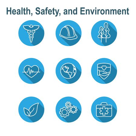 Health Safety & Environment Icon Set  with medical, safety, and leaves icons 向量圖像