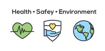 Health Safety and Environment Icon Set  w medical, safety, and leaves icons 向量圖像