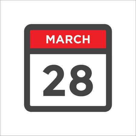 March 28 calendar icon - day of month Illustration