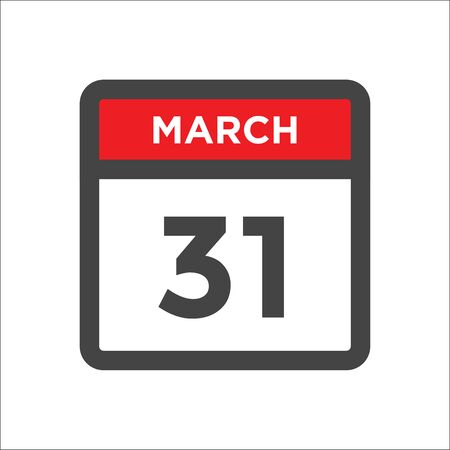 March 31 calendar icon - day of month
