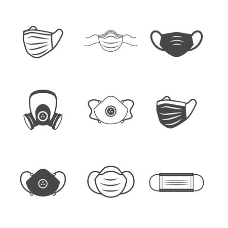 Sanitation & protection facemask ppe icon set with respiratory face masks