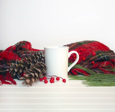 Christmas mug mockup w blank area for adding design