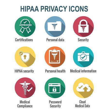 Jeu d'icônes de conformité HIPAA - image hippa impliquant la confidentialité médicale