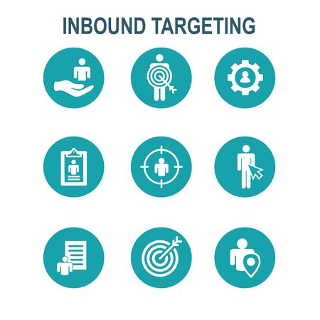 Inbound Marketing Icons w targeting imagery to show buyers and customers
