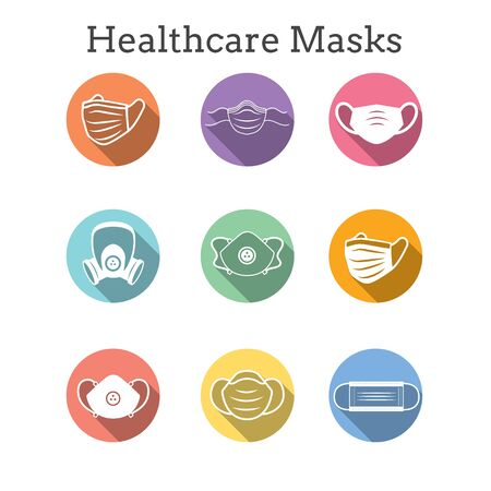 Sanitation & protection facemask ppe icon set with respiratory face masks Vecteurs