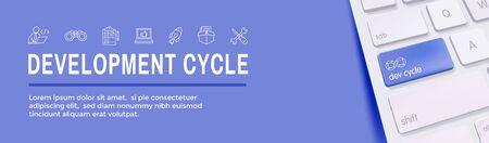 Development Operations and Life Cycle - DevOps Icon with process, build etc Ilustração