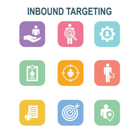Inbound Marketing Icons w targeting imagery to show buyers and customers 版權商用圖片 - 147913756