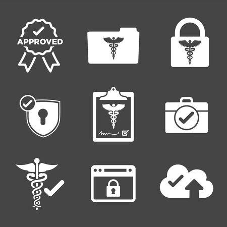 HIPAA Compliance icon set - hippa image involving medical privacy