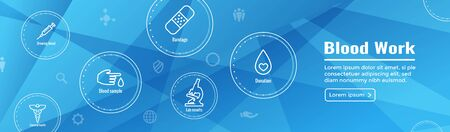 Blood testing work icon set and a