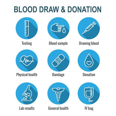Blood testing & work icon set with syringe, donation, and blood sample ideas