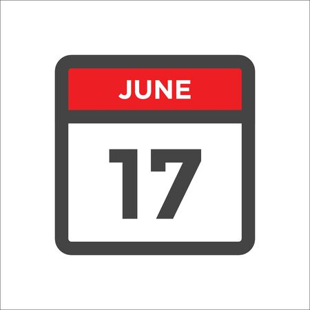 June 17 calendar icon - day of month 向量圖像