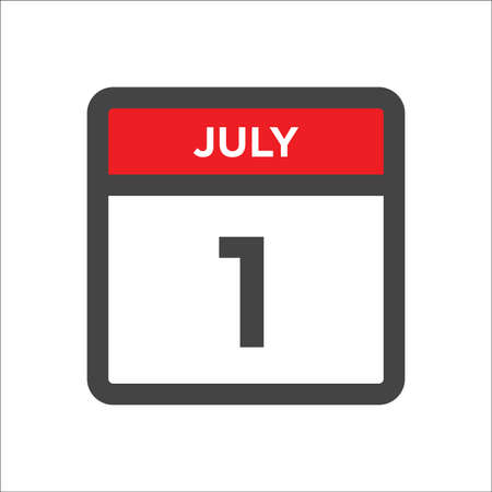 July 1 calendar icon with the day of month