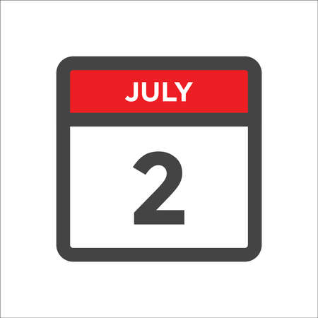 July 2 calendar icon with the day of month