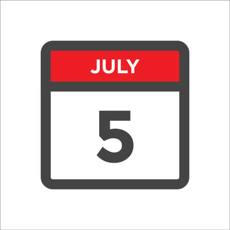 July 5 calendar icon with the day of month 向量圖像