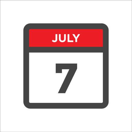 July 7 calendar icon with the day of month 向量圖像