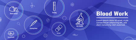 Blood testing work icon set and aweb header banner Stock Illustratie