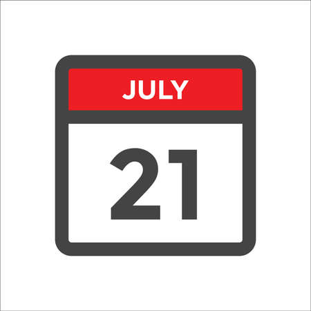 July 21 calendar icon with the day of month Ilustração