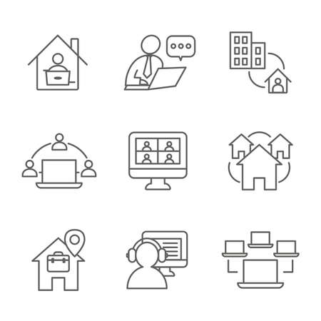 Remote work icon set - work from home, video meetings, etc 矢量图像