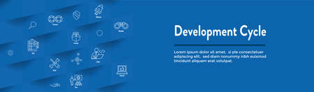 Development Operations and Life Cycle - DevOps Icon with process, build etc 일러스트