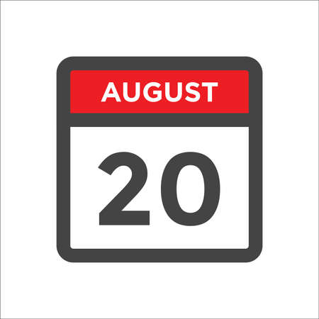 August 20 calendar icon with day and month 向量圖像