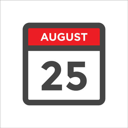 August 25 calendar icon with day and month 矢量图像