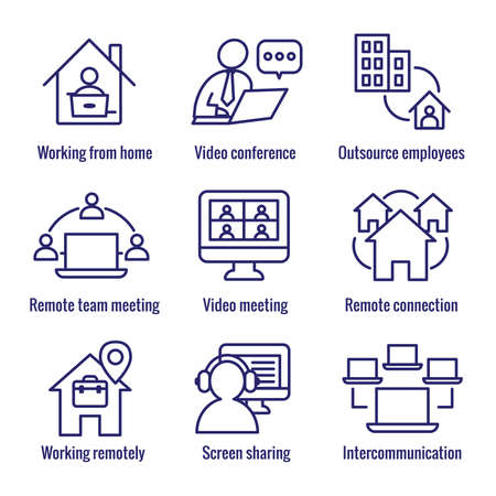 Remote work icon set - work from home, video meetings, etc Vectores