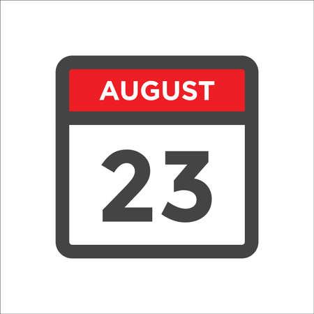August 23 calendar icon with day and month 矢量图像