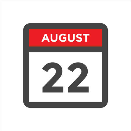 August 22 calendar icon with day and month