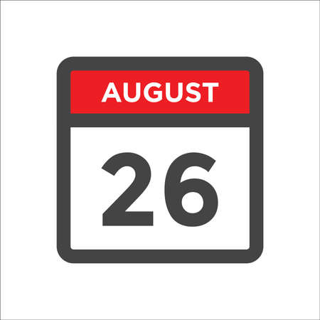 August 26 calendar icon with day and month 矢量图像