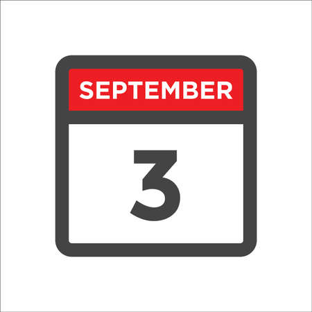 September 3 calendar icon with day & month 矢量图像