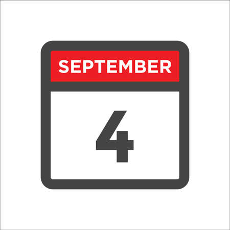 September 4 calendar icon with day & month 矢量图像