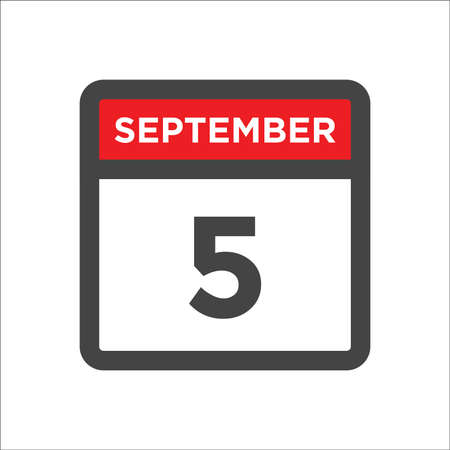 September 5 calendar icon with day & month 矢量图像