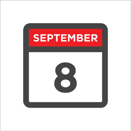 September 8 calendar icon with day & month