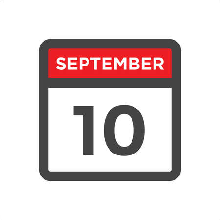 September 10 calendar icon with day & month 矢量图像