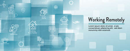 Remote work icon set & web header banner