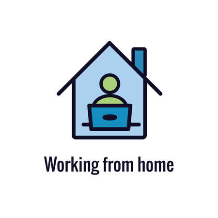 Remote work icon - work from home concept